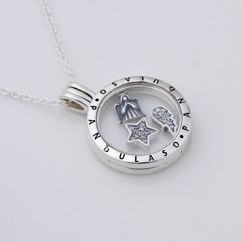 Prière ange Petites flottant médaillon collier et pendentif pour les femmes collier à faire soi-même 925 en argent sterling chaîne de bijoux