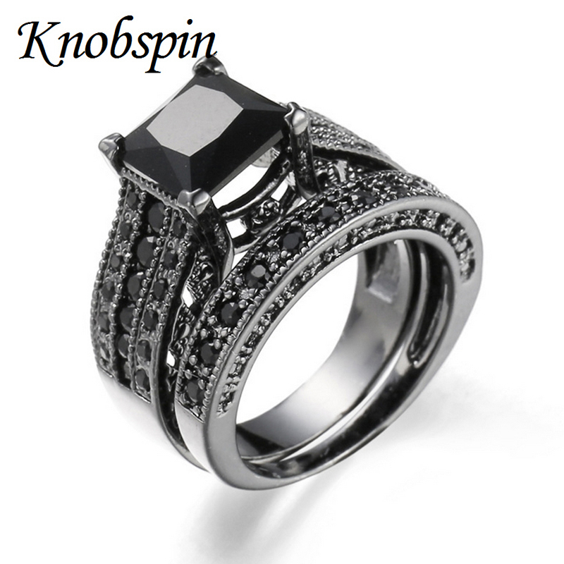 Women Rings Black Blue Stone Fashion Wedding Ring Sets Engagement Promise Bague Femme Europe Two In One From Jewelry
