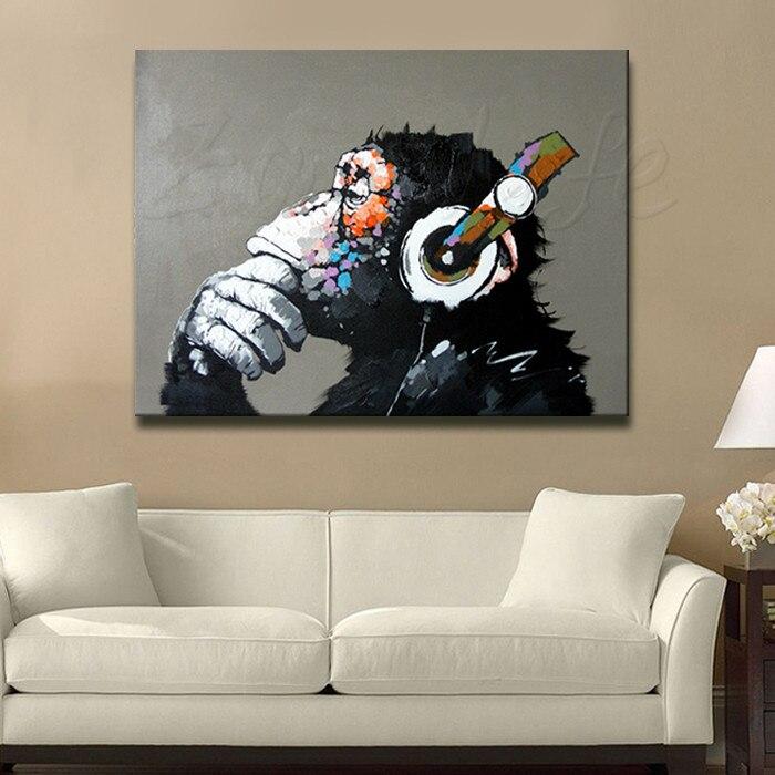 Aliexpress Lgemlde Auf Leinwand Wandbilder Malerei Fr Wohnzimmer Wandkunst Pop Banksy Graffiti Ape Moderne Abstrakte Handgemalte Von Verlsslichen