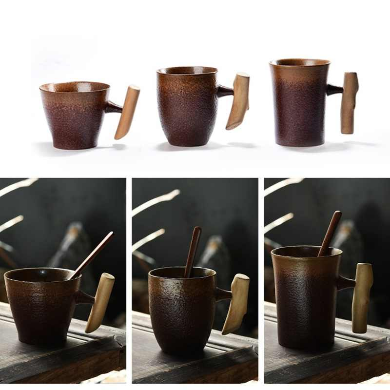 300ml Vintage surowy ceramiczny kubek do kawy kubek rdzy glazury z drewnianym uchwytem herbaty mlecznopiwny kubek wody do domu do biura do napojów