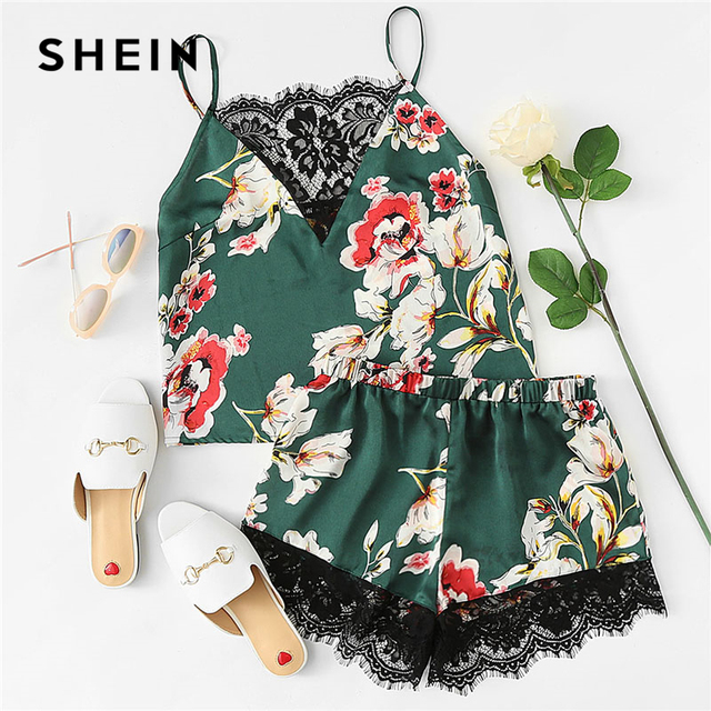 701a2caafb SHEIN Floral Print Lace Cami Top And Shorts Satin Pajama Set 2018 Women  Spaghetti Strap Sleeveless Patchwork Elegant Sleepwear