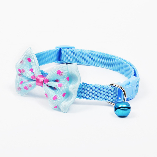 Adjustable Polyester Dog Collars Pet Collars With Bowknot Bells Charm Necklace Collar For Little Dogs Cat Collars Pet Supplies 3