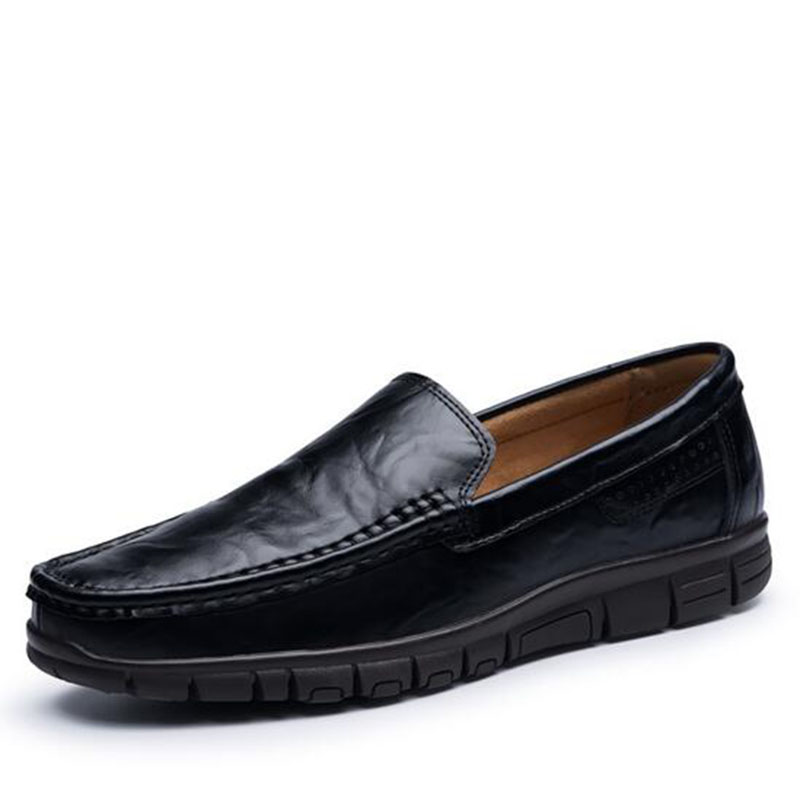 Business Work Men Genuine Leather Dress Shoes,Round Toe Non-slip Breathable Slip-on Flats Loafers Lazy Doug Shoes Size 38-47