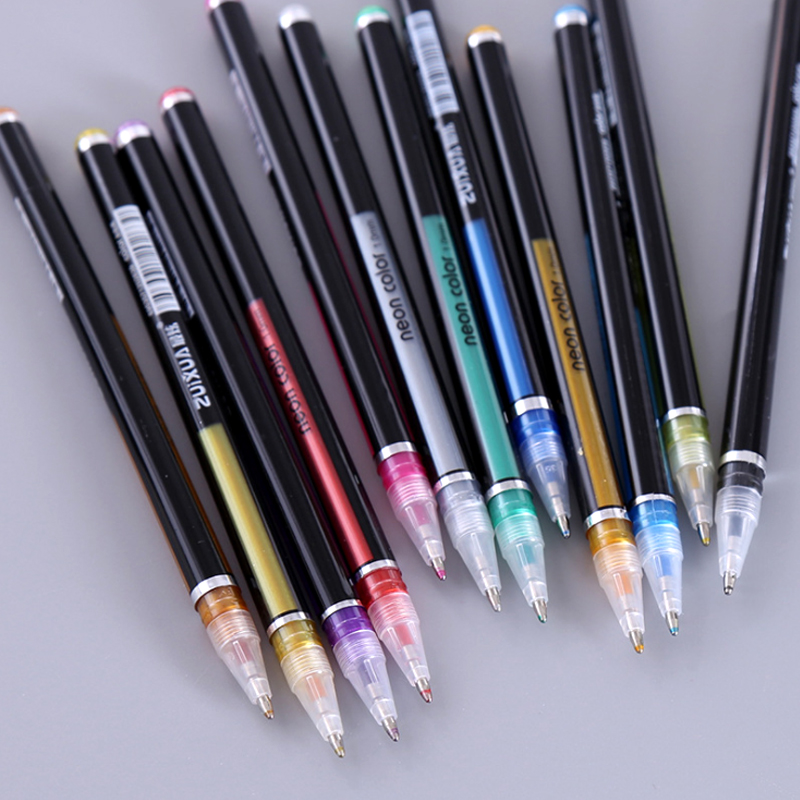 Flashing Highlighter Kawaii DIY Painting 12 To 48 Color Writing Cute Fill Color Decoration Gouache Flash Pen Office Accessories