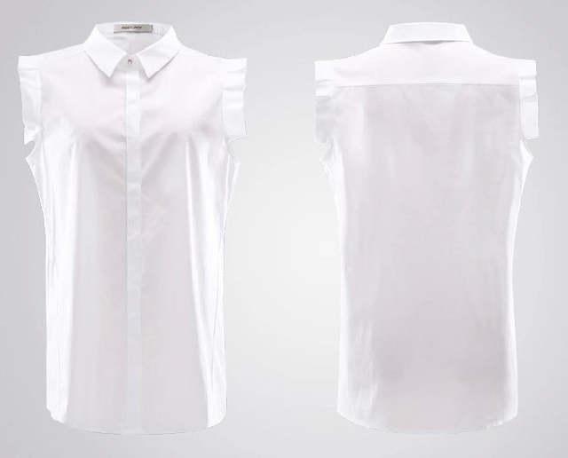1b7b16e33be483 placeholder 100% Cotton Sleeveless Women Blouse Summer Style Shirt Women  White Blouse Female Top Ladies Office