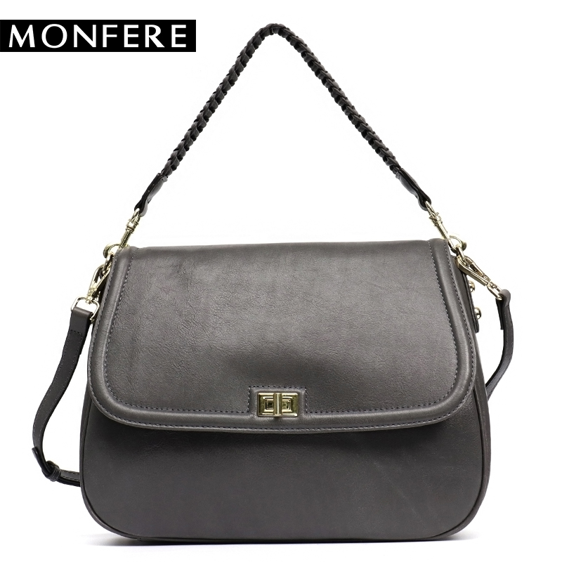 MONFERE 100% Cow Leather Flap Bag Small Women Messenger Bag Lady Fashion Cover Lock Woven Shoulder Crossbody Bags Female Handbag