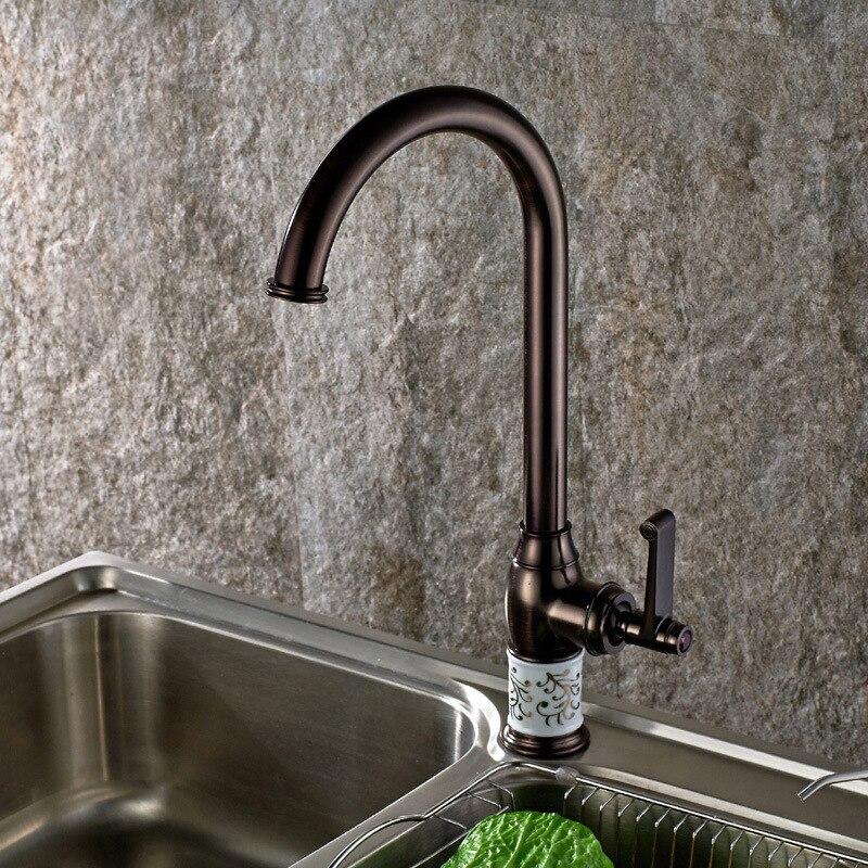 Vidric robinet de cuisine huilé cuivre pour robinet d'eau froide et chaude robinet d'évier lavabo végétal 360 rotation