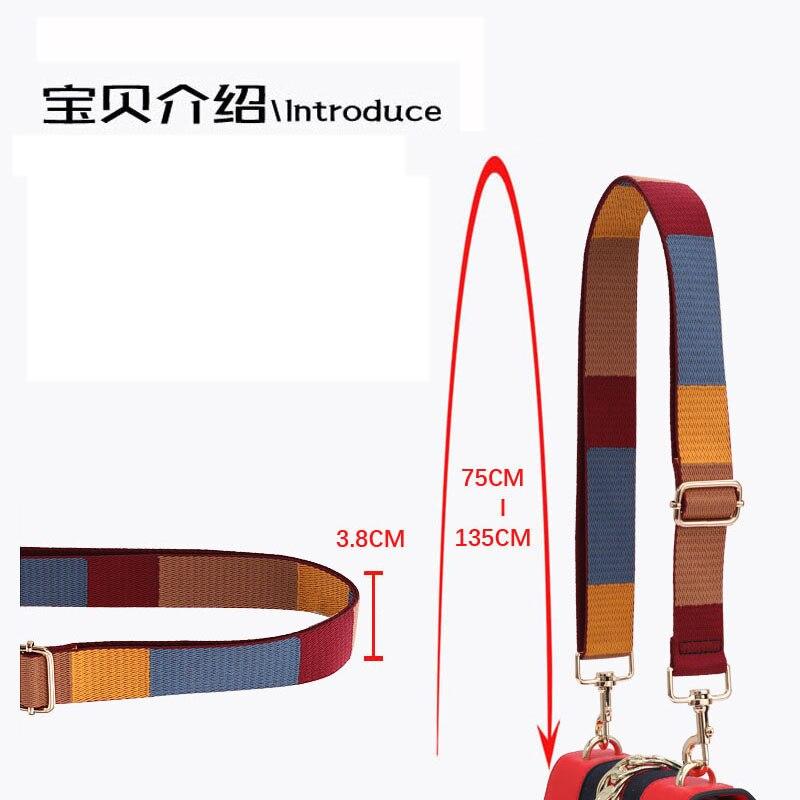 Adjustable Handbag Strap Striped Canvas Strap For Crossbody Shoulder Bag Handles 3.8cm Wide Replacement DIY Accessories KZ151366
