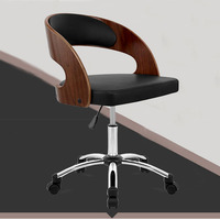 Modern Mid Back Leather Executive Wood Swivel Office Chair Furniture Executive Leather Ergonomic Office Computer Desk