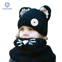 Cute Baby Girl Child Hood Scarf Beanie Knitted Hat Infant Thickening Fox Shawl Neck Scarves Hats