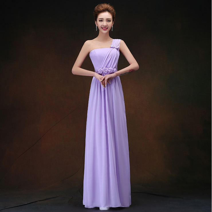 light purple greek style grecian elegant long lavender chiffon bridesmaid party dress gown