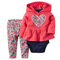 Baby Girl Valentine's Day Clothing Set Newborn Spring Winter 3Pcs Suit Coat+Pants+Romper Girl Floral Suits 2017 New Arrive 15E