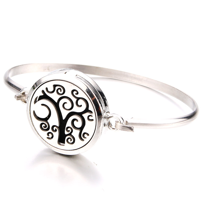 Silver Lucky Tree Fine Perfume Box Bracelet Aroma Essential Oil Diffuser Locket Stainless Steel Bracelet Fashion jewelry