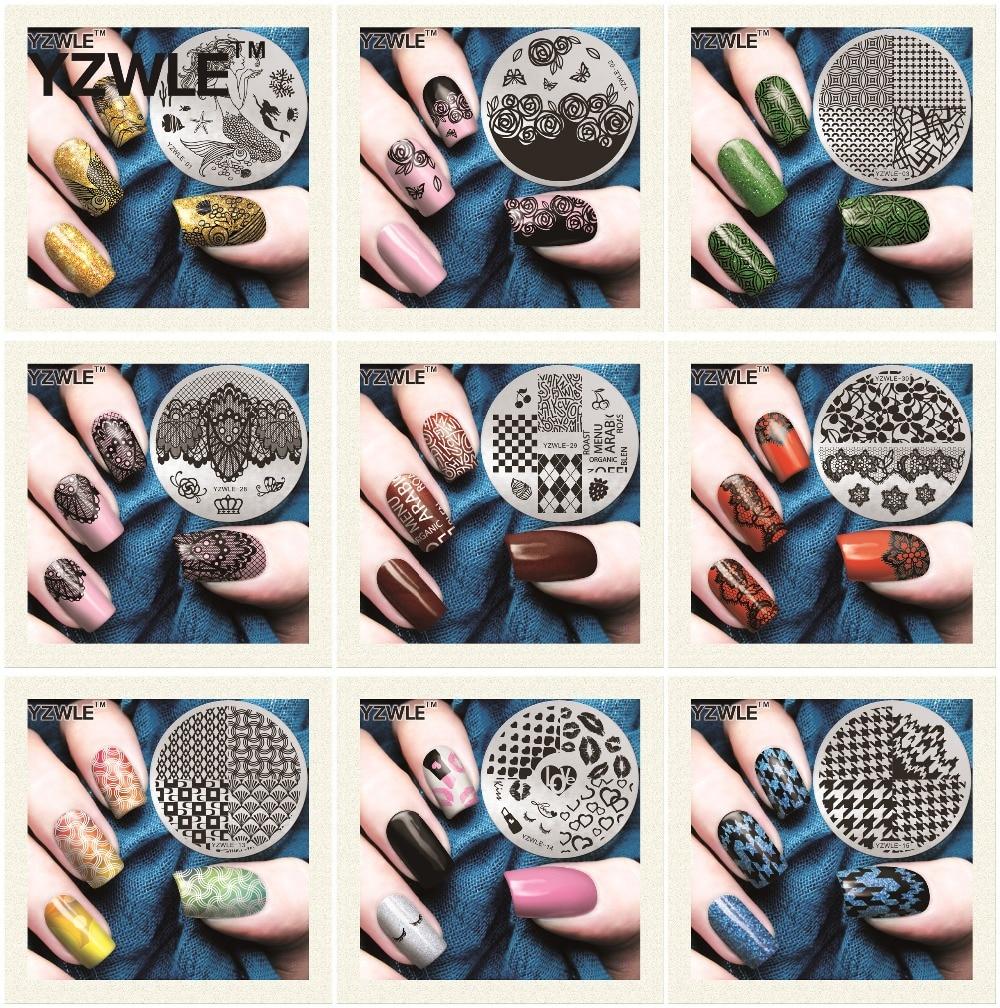 Yzwle Nail Art placa, 5.6 cm modelo polonês Manicure aço inoxidável Stencil 30 estilos disponíveis ( L-YZWLE )