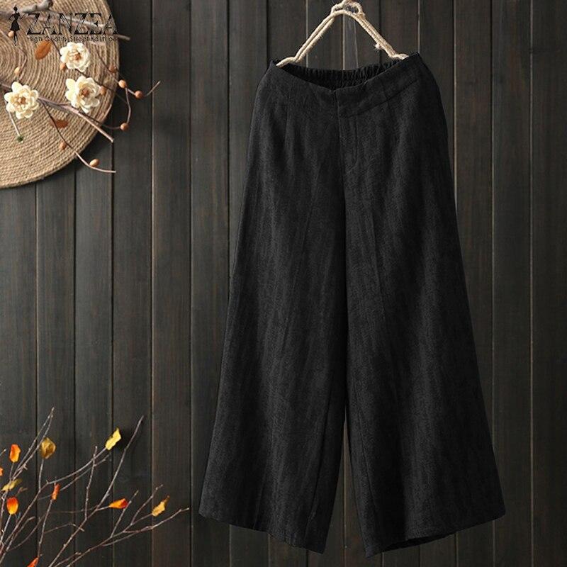 2019 Autumn ZANZEA Women Elastic Waist Loose Cotton Linen   Pants   Vintage Solid Work OL   Wide     Leg     Pants   Pantalon Trousers Plus Size