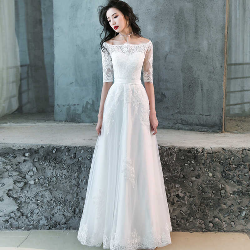 6cbaf84df2 Cheap Lace Wedding Dress Boat Neck Tulle Boho Beach Bridal Gown Bohemian  Wedding Gowns Robe De