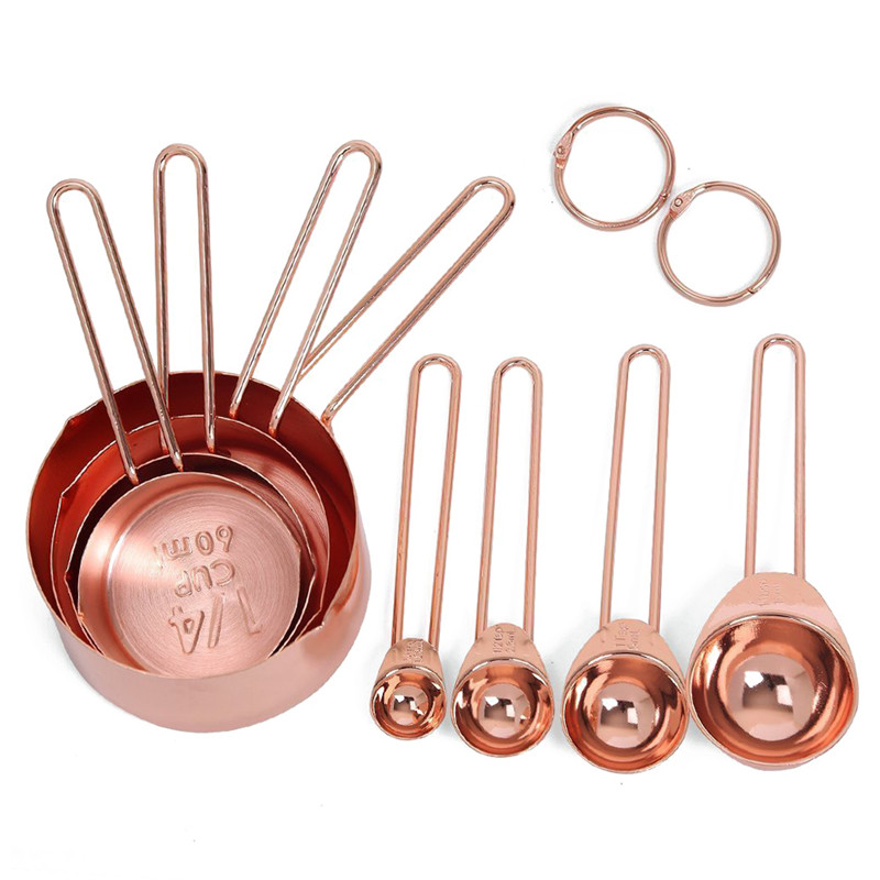 9pcs Rose Gold Stainless Steel Measuring Cups And Spoons Set Engraved Measurements,Pouring Spouts & Mirror Polished For Baking