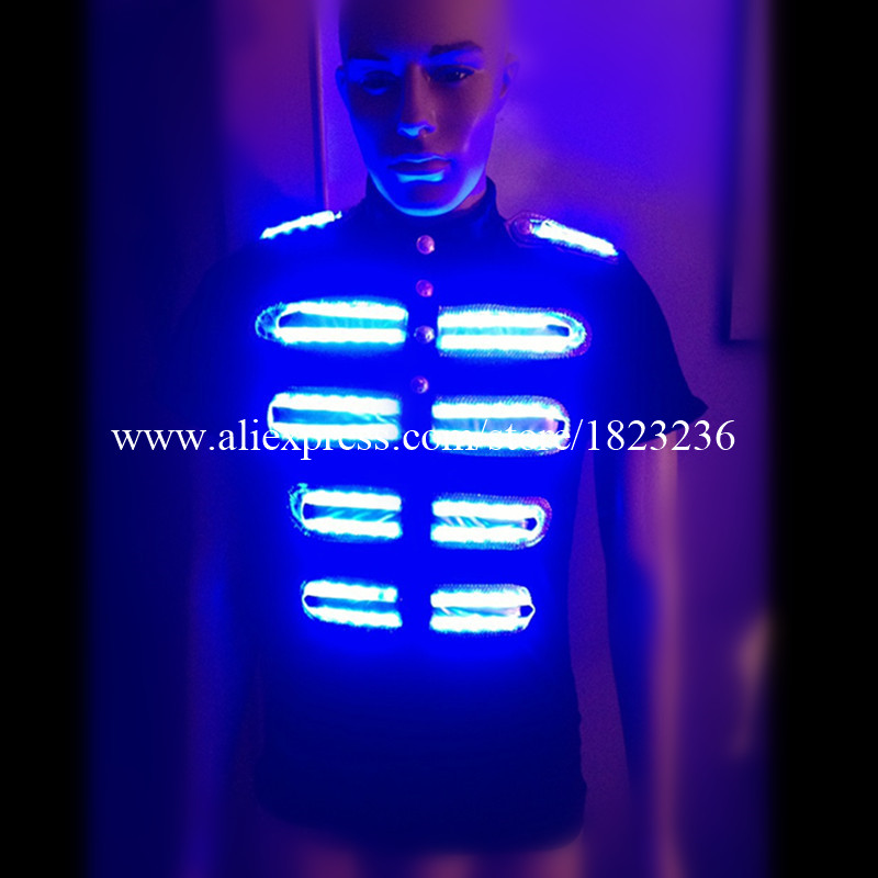 2 Sets Colorful Led Luminous Growing Shirt Clothes Led Light Full Color Ballroom Costume Stage Dancing Wear For Club Party Bar