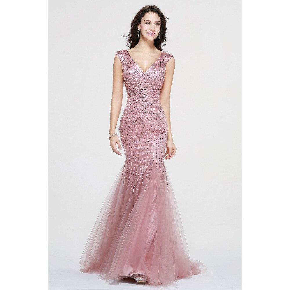 Vestido De Festa mujeres Hermosas prom vestidos Con Cuello En V ...