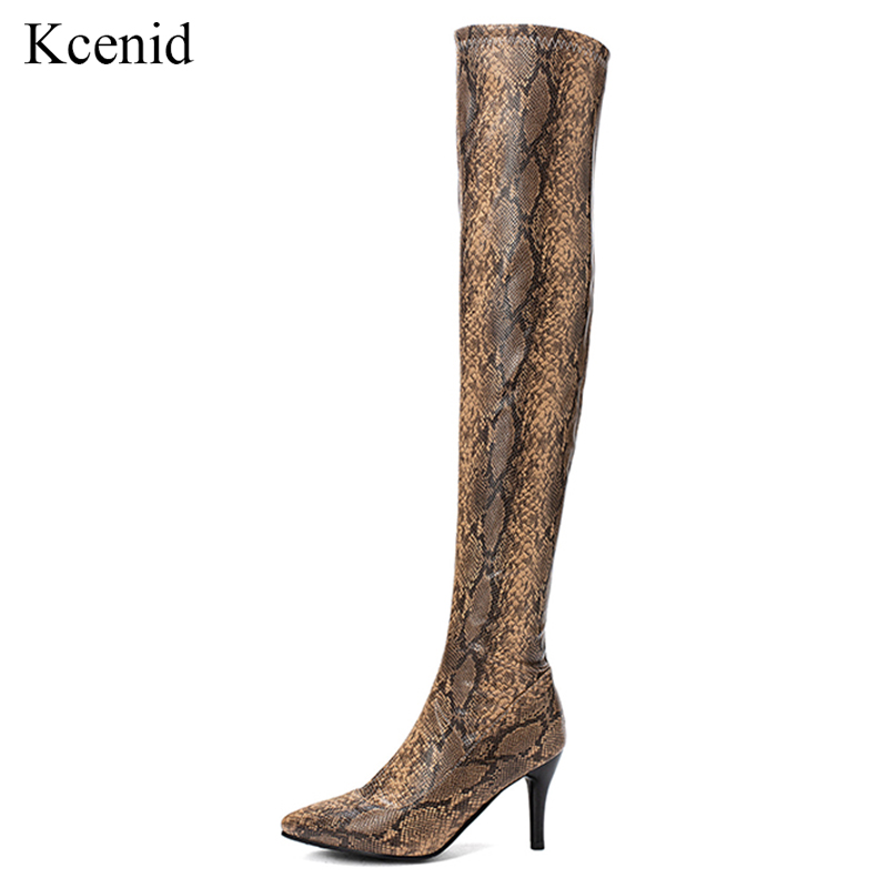 Kcenid Snake print over the knee high boots fashion pointed toe thin heels sexy shoes woman winter boots women warm long boots