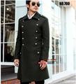 ' s de la marca alemán generales de la segunda guerra mundial vintage largo abrigo abrigo de lana delgado cruzado capa larga chaquetas abrigo / S-3XL