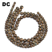 DC 1 String Round Brown Stone Pattern DZI Beads 8mm 10mm 12mm For Strand Beaded Bracelet