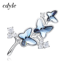Cdyle Kadın Kelebek Broş Swarovski kristalleri ile Süslenmiş Broş Takı moda takı Bayan Aksesuarları
