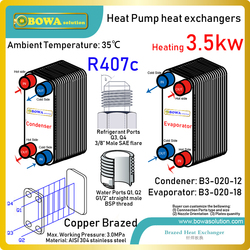 12000BTU PHEs are designed for household 3-in-1 heat pump water heater and air condtioners to get DWH, cooling and heating
