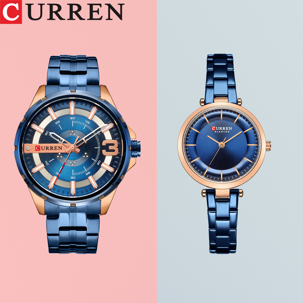 CURREN Couple Watch Men Fashion Quartz Women's Watches Simple Casual Stainless Steel Bracelet Wristwatch Clock Male Ladies Gift