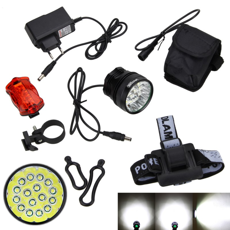 20000Lumens 2 in 1 Headlight 16x XM-L T6 LED Bicycle Bike Light Lamp Torch+Battery Pack & Charger with tail light 2 in 1 20000lm 16 x xm l t6 led rechargeable bicycle light bike headlight headlamp head lamp 18650 battery pack charger