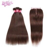 Queen Love Hair Pre Colored 100 Human Hair Bundles With Closure 3 Bundles Peruvian Straight Hair