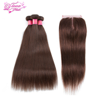 Queen Love Hair Pre Colored 100 Human Hair Bundles With Closure 3 Bundles Peruvian Straight Hair
