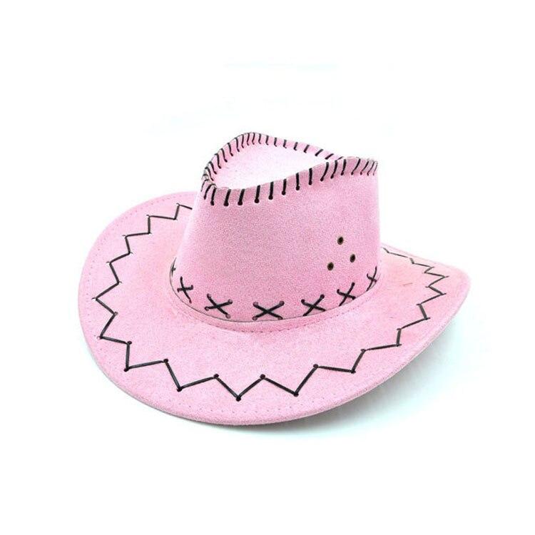100pcs/lot Wide Brim Cowboy Hat Suede Look Wild West Fancy Dress Men Girls Solid Colors Gorros Cap Women's Hats Chapeau Femme 8