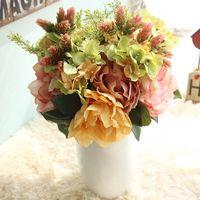 Pivoine Fleurs Artificielles pour La Maison Décoration Plantes Artificielles en plastique Faux Fleurs rouge Partie De fleur De Mariage Flores Artificiales
