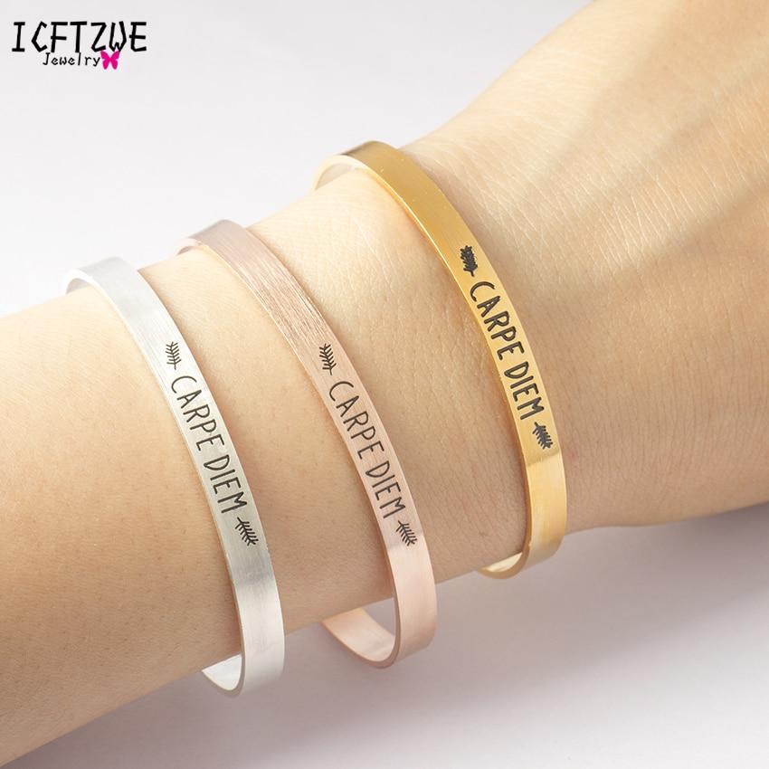 ICFTZWE Body Jewelry Gold Bracelet Femme CARPE DIEM Bracelet & Bangle Pulseras Mujer Hand Accessories For Women ...