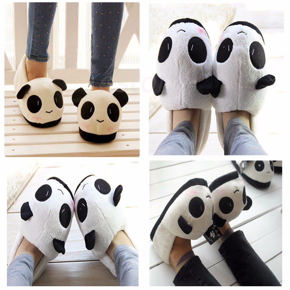 THINKTHENDO Man Panda Winter Warm Soft Plush Antiskid Cute Indoor Home Slippers men winter soft slippers plush male home shoes indoor man warm slippers shoes