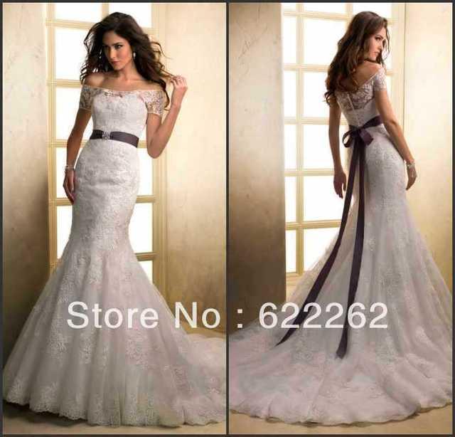 e61036ee1fab Unforgettable mermaid short sleeve floor length white lace chapel train  beads purple belt bridal dresses wedding gowns