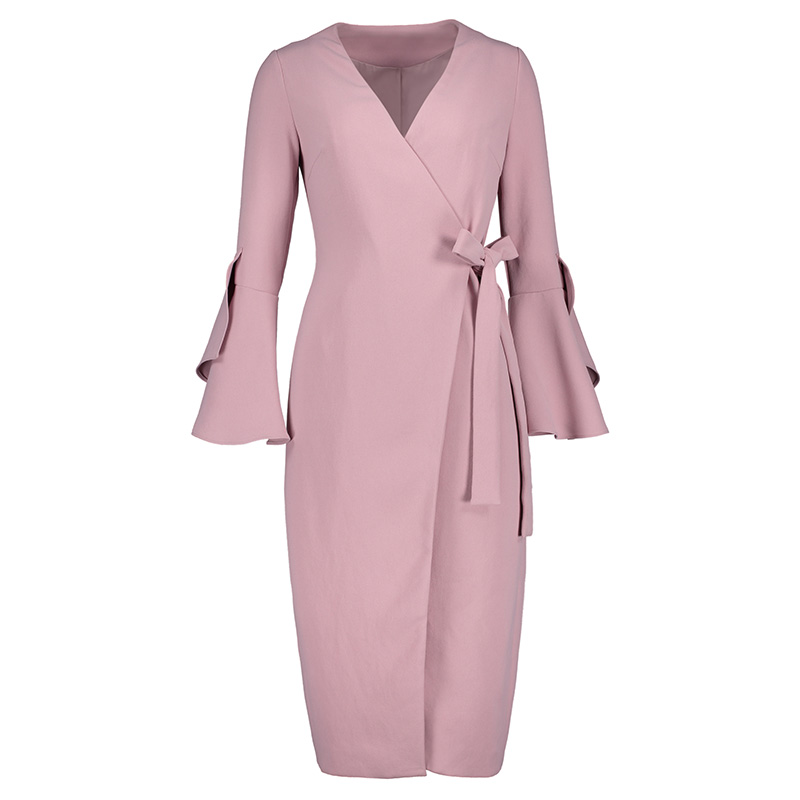 Sisjuly women dress spring autumn slim pink elegant pencil dress girls flare long sleeve lace-up bowknot vintage bodycon dress autumn long lace dress cut out pink blue fit and flare sleeve bodycon tunic evening party midi dress european style