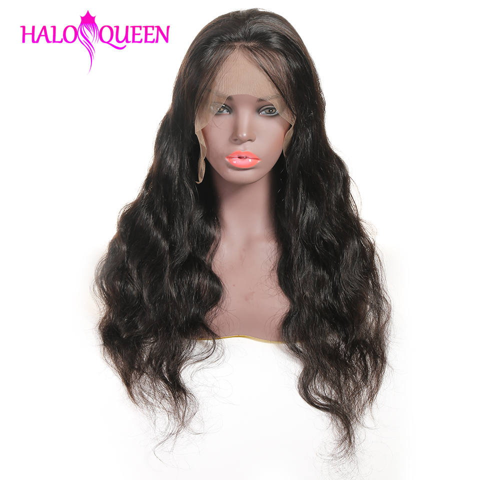 HALOQUEEN Hair Human Wigs Raw Indian 13X4 Lace Closure Wig Body Wave Pre-Plucked Baby Hair 8-28 Inch Non Remy Human Hair