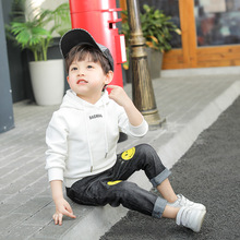 2019 new jeans with cartoon smiley face printed rolled-up trousers children's stretch slacks boys solid tee with rolled hem jeans