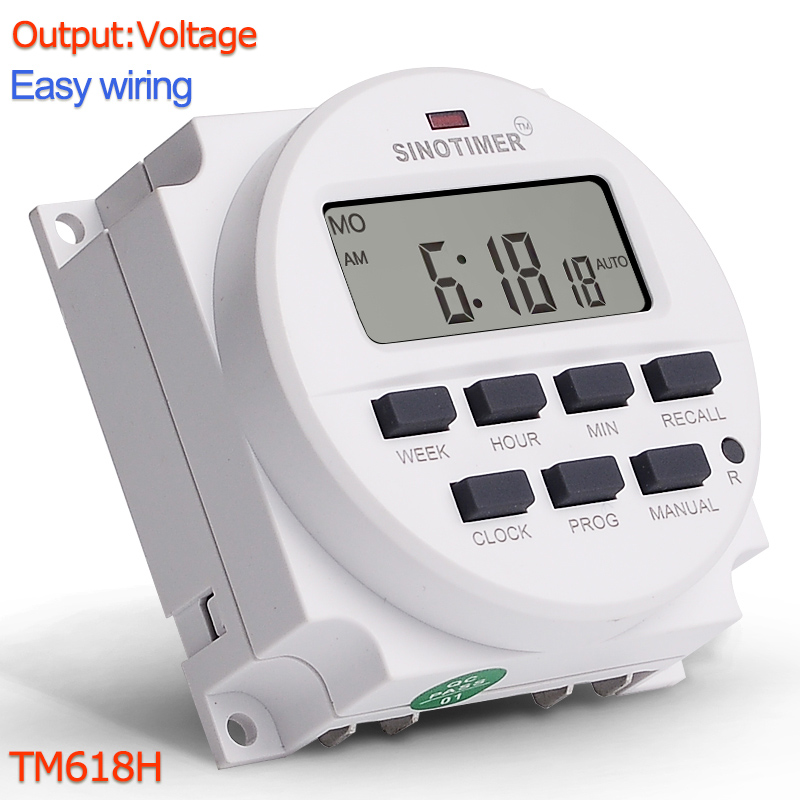 TM618H DC 12V <font><b>24V</b></font> AC 110V 120V <font><b>220V</b></font> 230V Volt Voltage Output Digital 7 Days Weekly Programmable Timer Switch Time <font><b>Relay</b></font> Control image