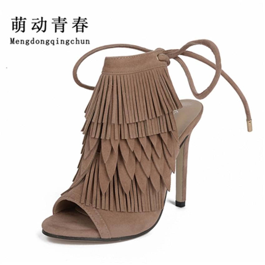 цена на 2017New Super Star Gladiator High Heels Sandals Women Fringe Lace-up  Ankle open toe Shoes Woman Open Toe Sandals