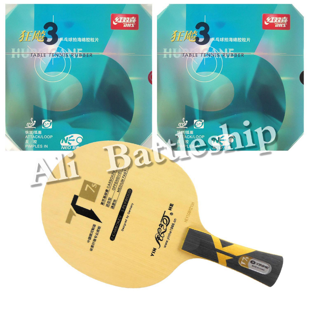 Original Pro Table Tennis PingPong Combo Racket: Galaxy Yinhe T7s Blade with 2x NEO Hurricane 3 Rubbers Long Shakehand FL pro table tennis pingpong combo racket galaxy yinhe t7s blade with 2x sanwei t88 iii rubbers shakehand long handle fl