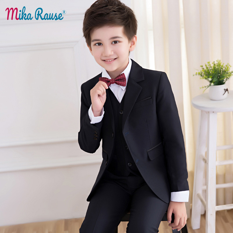 34976e4f57840 US $61.44 36% OFF|2019 Spring Flower boy wedding Suits for boys kids Black  blazers formal clothes uniform Children teenage school party clothing-in ...