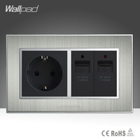 EU 16A Socket and Double USB Charging Ports Silver Satin Metal EU Standard Electric Wall Socket Power Supply 2 USB Outlet