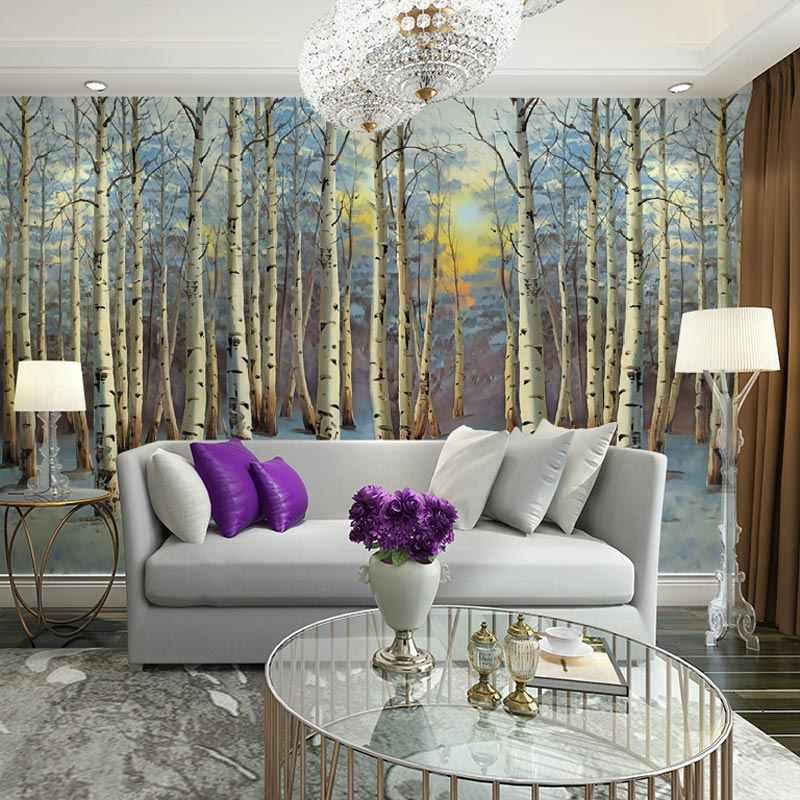 ขนาดใหญ่กระดาษแสงแดดหิมะ Birch Tree Forest ภาพวอลล์เปเปอร์ภาพจิตรกรรมฝาผนัง 3D ห้องนั่งเล่นห้องนอนกาวไวนิล/ผ้าไหมวอลล์เปเปอร์