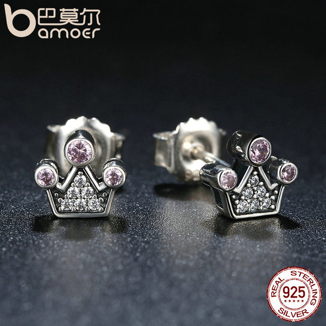 Sterling Silver Pink Crystals Queen Crown Earrings