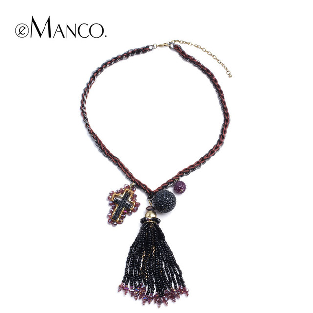 Богемия стиль бусины подвеска себе с крест кристалл инкрустированный для женщин eManco 2015 новый бренд мода ожерелье ювелирные изделия NL03179