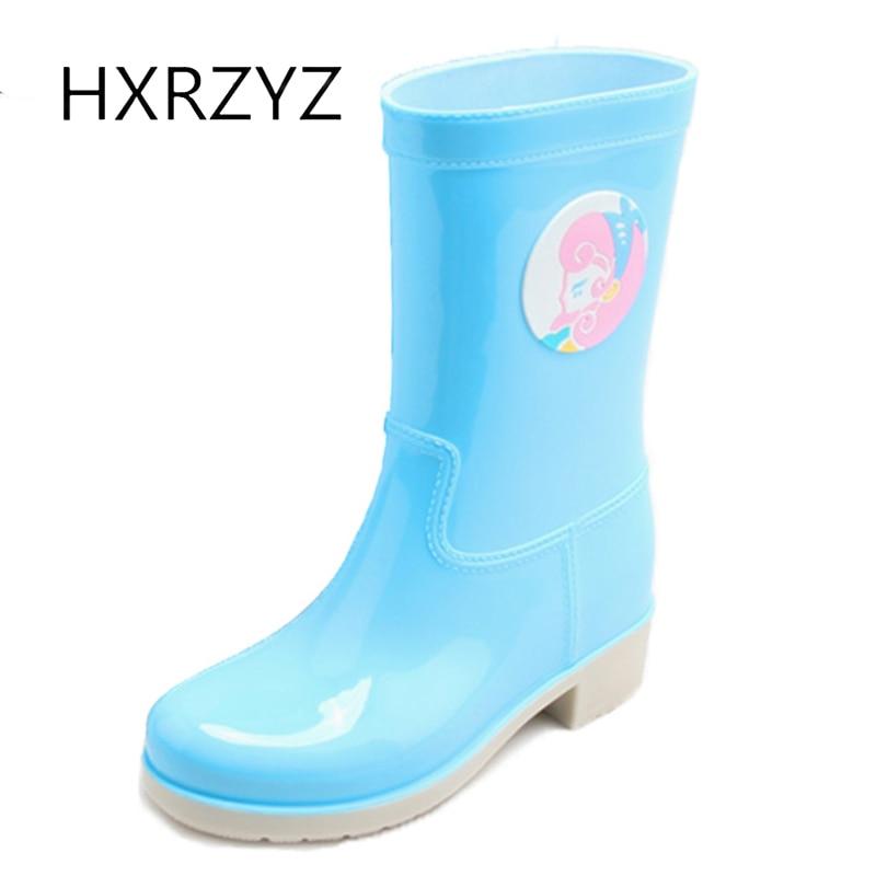 HXRZYZ women rain boots cute cartoon rubber ankle boots new fashion candy waterproof Slip-Resistant spring/autumn women shoes книги издательство clever пингвиненок пороро пороро и волшебная дудочка