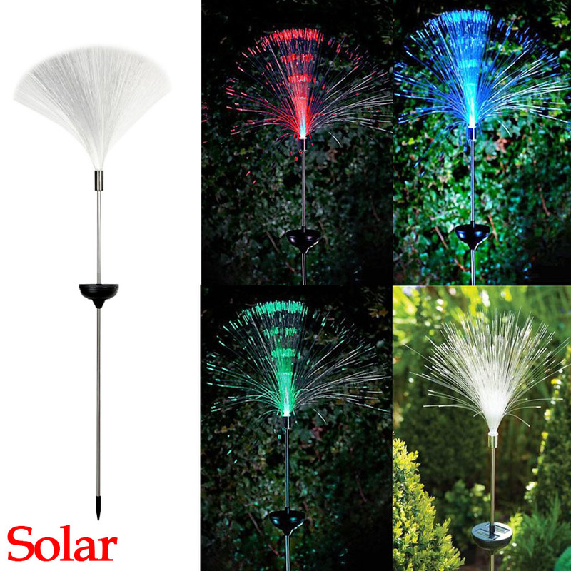 Fibre Optic LED Garden Light Lamp Color Changing Solar Power Fountain Night Light Christmas Party Claming Home Decor
